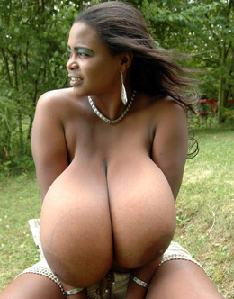Huge tits black babe Miosotis naked on..